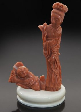 Chinese Carved Coral Figure