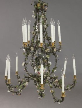 Large Wrought Iron & Porcelain 16-light Chandelier