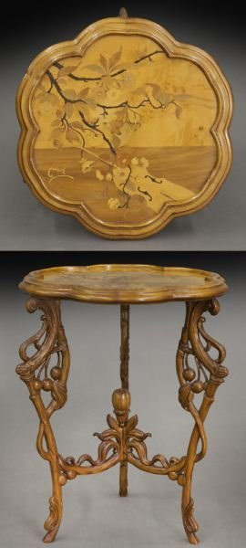 Signed Emile Galle Marquetry Table,