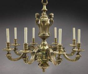 Gilt Bronze 8-light Chandelier With Central Column