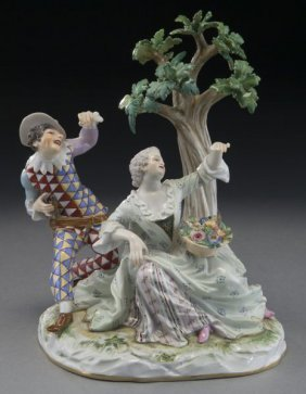 Meissen Figural Group Depicting Harlequin And Lady