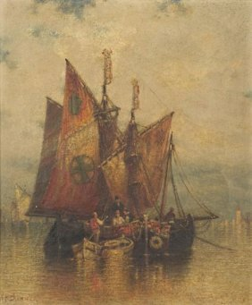 """Andrew Fisher Bunner """"untitled (venetian Scene)"""""""
