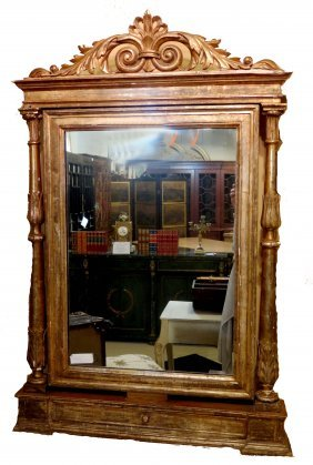 Antique Carved And Gilt Shaving Miror