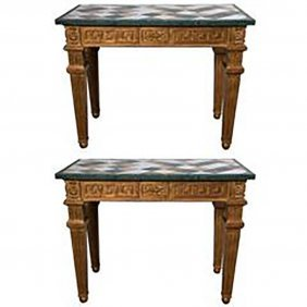 Pair Marble Top Consoles