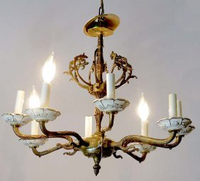 Bronze And Porcelain Chandelier