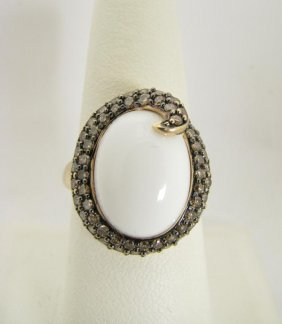 Lady's 14K Yellow Gold White Jade And Diamond Ring
