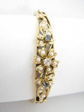 Lady's 14K YG Bangle Bracelet, Pearls, Diamonds