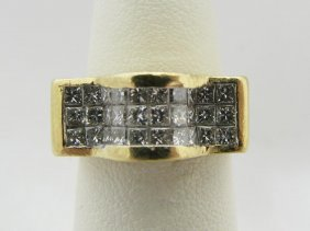 Lady's 18K YG Ring With Invisible Set Diamonds