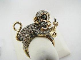 Lady's 14K YG Unusual Monkey Motif Fashion Ring