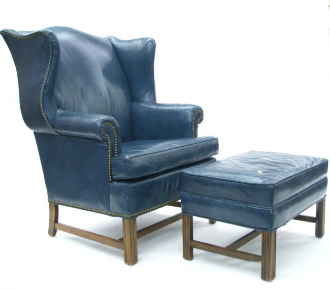 Ethan Allen Leather Wing Chair And Ottoman Lot 317