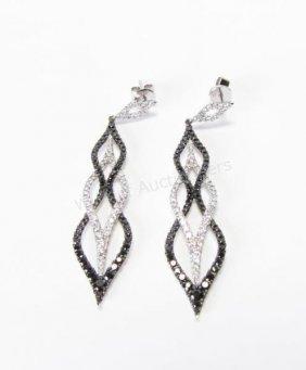 18k Wg Black And White Diamond Drop Earrings