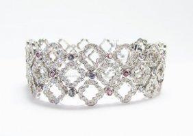 18k Wg Krypell Diamond And Alexandrite Bracelet