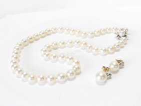 Pearls And Diamonds, 14k, Necklace And Earrings