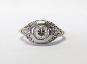 Vintage Platinum Diamond Filigree Ring