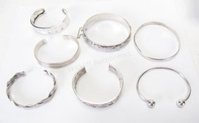 Group Of Sterling Silver Bangle Bracelets