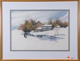 Martha Baker 16x24 Wc Snowy Barn And Creek