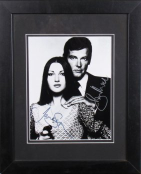 Roger Moore, Jane Seymour Signed Headshot