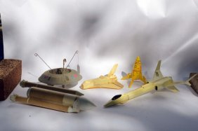 3 Vintage Model Rockets And 2 Space Model Pieces