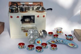 Vintage Toy Oven With Accessories