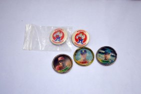 3 Topps Baseball Coins And 2 Pins