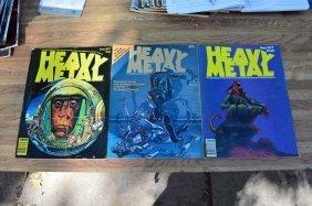 3 1977 Heavy Metal Magazines