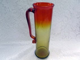 Vintage Red Amberina Glass Pitcher