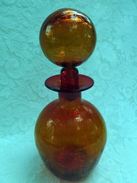 Cracked Glass Tangerine Decanter
