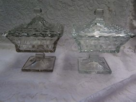 2 Fostoria American Covered Compotes