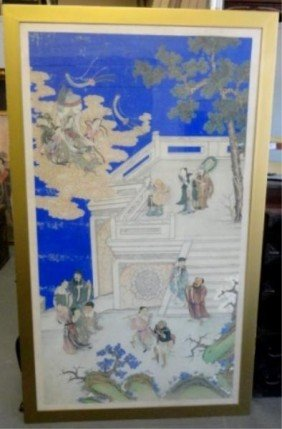 Large Chinese Painting/Print On Silk With Figures