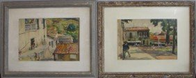 NEWMAN, Joseph. 2 Framed W/C's Of Mexican Village