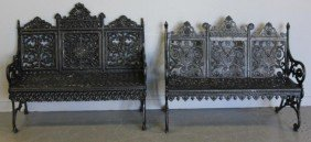 2 Victorian Wrought Iron Benches.