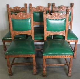 Set Of 5 Carved Oak Dining Chairs.