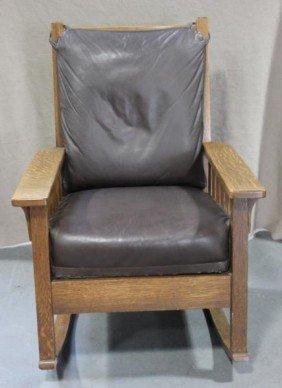 Mission Oak Slatted Rocking Chair.