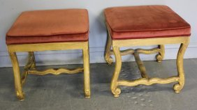 Pair Of French Painted Louis XVI Style Ottomans.