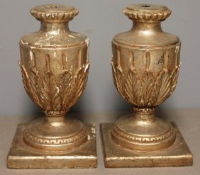 Pair Of Early Italian Silver Leaf Urn Form Bases.