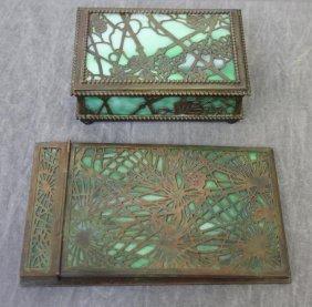 TIFFANY STUDIOS. Desk Pieces Including A Pine