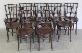 12 Thonet Black Bentwood Chairs.