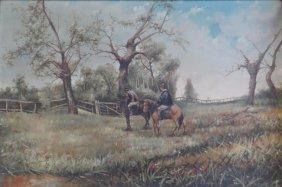 BRIGANTI, Nicholas. 1887 O/C Of Men On Horseback.