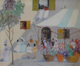 CAGLIANI, Luigi. Impressionist O/C. Flower Market.