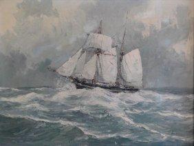 """LOUWAARD, A.T. O/C """"Old Vessel At Searoom."""""""