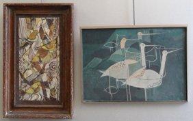 SMITH, Vernon. 2 Gouaches On Paper Of Birds.