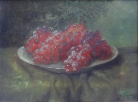 REAM, C.P. Oil On Canvas Still Life With Grapes.