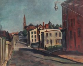 MARTINO, Giovanni. O/C Street Scene With Figure.