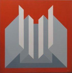GIORDANO. 1975 Geometric Op-Art Oil On Canvas.