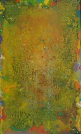 """JOHNSON, Daniel LaRue. Abstract O/C """"Scopophilia."""""""