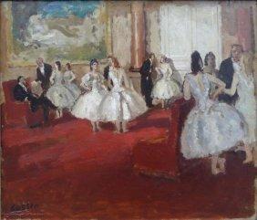 "COSSON, Jean. Oil On Panel ""Le Foyer De La Danse."""