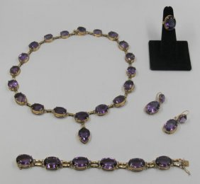 Jewelry. 14kt Gold And Amethyst Jewelry Suite.