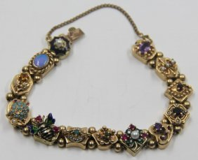 Jewelry. Victorian 14kt Gold Slide Charm Bracelet.