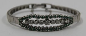 Jewelry. 14kt White Gold, Diamond, And Emerald