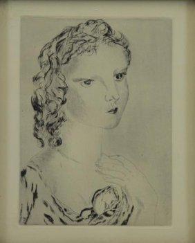"Foujita, Leonard T. Drypoint Etching ""la Jeune"